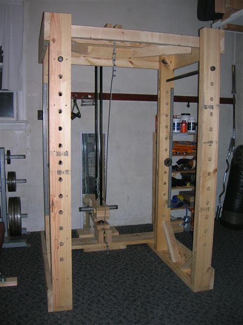 Homemade Power Rack and Lat Tower