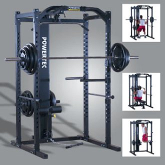 Powertec P-PR Power Rack with P-LTO Lat Tower Option
