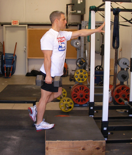 dumbbell one leg calf raise