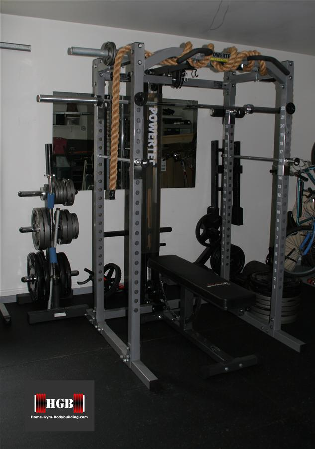 Powertec power rack in garage gym